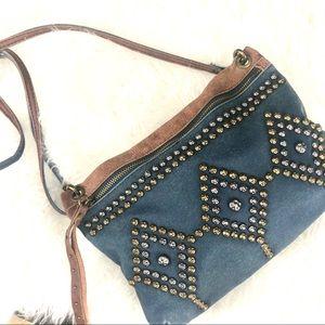 Lucky Brand  studded denim crossbody purse